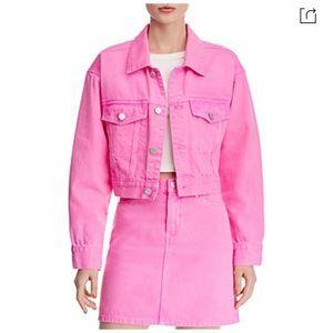 Blank NYC Pop Pink Crop Denim Jacket Small New